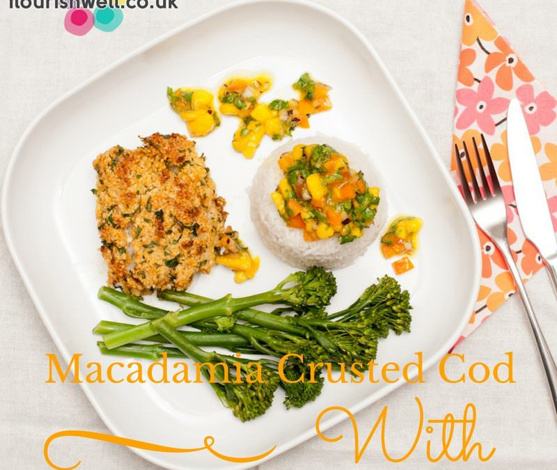 Macadamia Crusted Cod with Coconut Rice & Mango Salsa