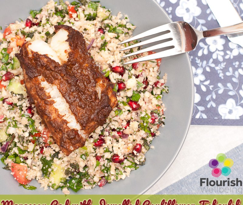 Moroccan Cod with Jewelled Cauliflower Tabouleh