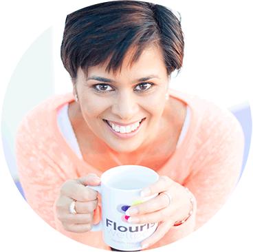 Prabha Shiyani with Flourish Wellbeing mug