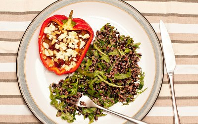 Ratatouille Stuffed Peppers with Black Rice and Quinoa Salad