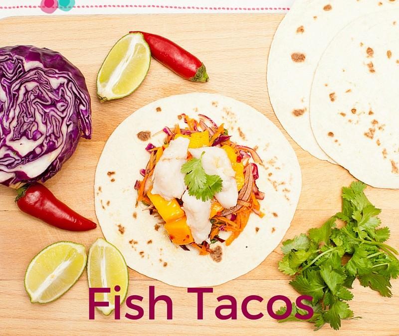 Fish Tacos with Mango Salsa & Slaw