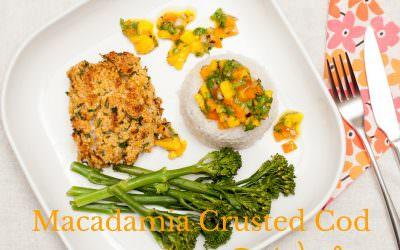 Macadamia Crusted Cod with Coconut Rice & Mango Salsa