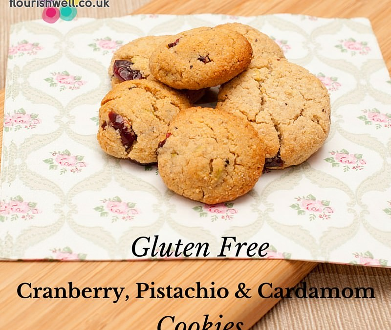 Gluten Free Cranberry Pistachio and Cardamom Cookies