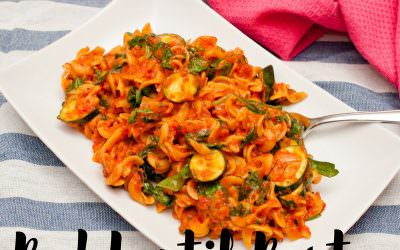 Red Lentil Pasta with Sundried Tomato and Roasted Red Pepper Pesto